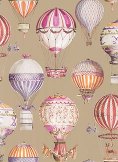 L'Envol by Manuel Canovas - Tomate : Wallpaper Direct Old Wallpaper, Wallpaper Direct, Pattern Wallpaper, Wallpaper Ideas, Air Ballon, Hot Air Balloon, Ballon Illustration, Etiquette Vintage, Buch Design