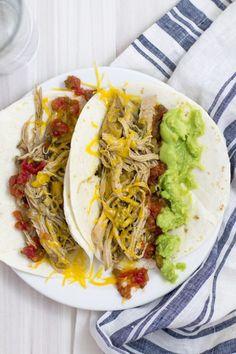 Easy and Healthy Crockpot Salsa Verde Shredded Pork Tacos