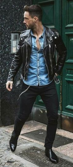 denim shirt outfit styled with black leather jacket