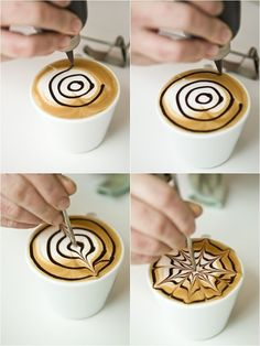 Etching: cappuccino with chocolate drizzle Arte Del Cappuccino, Cappuccino Art, Coffee Latte Art, Cappuccino Machine, Coffee Cafe, Coffee Drinks, Coffee Shop, Coffee Machine, Art Of Coffee