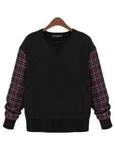 Women Gird Patchwork Long Sleeve Loose Pullover Sweatshirt