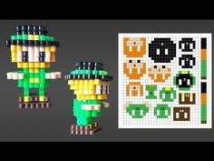 Cute 3D Leprechaun Perler Bead Pattern for St. Patrick's Day. Laceys Crafts is all about sharing super simple and adorable crafts for kids. Enjoy!