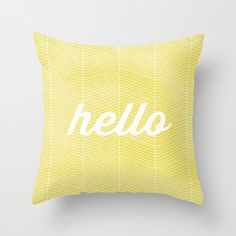 Pillow Cover, Abstract Herringbone Pillow, Throw Yellow Pillow, Maize, Citrine, Nursery Room Pillow, 16x16 Pillow Decorative  -  Hello
