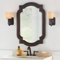 Home Decorators Collection 22 in. W x 32 in. L Framed Wall Mirror in Oil Rubbed Bronze-81161 - The Home Depot