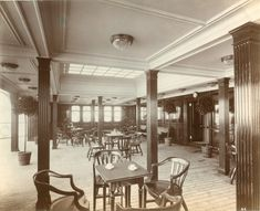 """"""" Interior of the RMS Lusitania, 1905-1907 (source) """" The original caption does not specify, but my theory is that this image depicts the second class smoking room (judging by the skylight and the relatively modest furnishings)"""