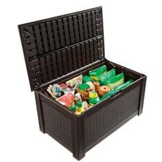 Keter 206042 Brightwood 120 Gallon Deck Box Outdoor
