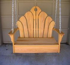 Love the back of the swing.Butterfly Swing by Hollis Woodworks - a really cool looking swing! Chest Furniture, Pallet Furniture, Furniture Projects, Outdoor Furniture, Custom Furniture, Wooden Projects, Outdoor Projects, Wood Crafts, Into The Woods