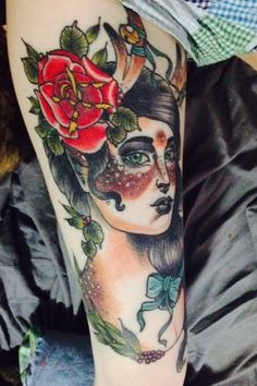 deer lady thigh tattoo done by Torie Larson in Paulsbo Washington