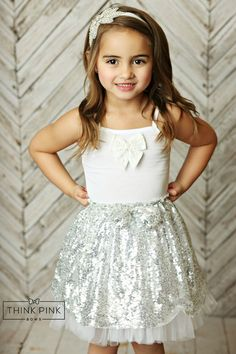 Sparkle Within Sequin Bow Skirt - Silver Flower Girl Shirts, Cute Flower Girl Dresses, Lace Flower Girls, Bow Skirt, Twirl Skirt, Gold Sequin Fabric, Silver Fabric, Silver Sequin, Tulle Dress