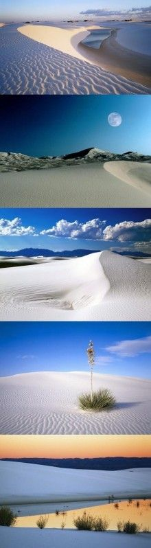 One of the world-famous natural wonders, New Mexico, White Sands National Park. There is one of America's largest dune plains, this bright, white sand dunes are always changing, always moving, like waves in the sea. Drive strong winds driving sand according to its own path to move forward and cover anything, it is like a huge sea of sand.