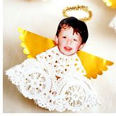 Personalized angel made from a doily and photo