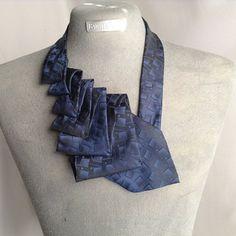 Pleated Necktie Scarf Blue by She Dazzle on Opensky