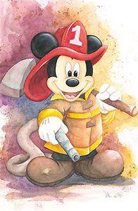 Mickey Mouse - Fireman Mickey - Michelle St. Laurent - World-Wide-Art.com - #disney #michellestlaurent #disneyfineart #mickeymouse #fireman