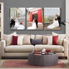 Wedding Vow Wall Art with Wedding Photos- Triple Canvas