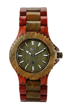 Wooden Watch by  WeWood. This watch made from 100% wood, hypo-allergenic, Completely free of toxic chemicals, Miyota movement. Dual color brown or army dark green, this watch is not suitable for swimming because Like any natural wood, the wood slightly expands when getting wet, and this makes the flexibility of the links less supple, but it's splash proof, It does just fine in the kitchen, even on the beach. http://www.zocko.com/z/JHx07