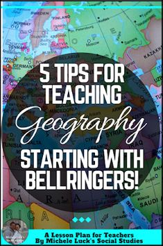 Easy to implement ideas and tips for Teaching Geography in the middle or high school classroom with lesson plan suggestions, websites to use, and activities to make learning more engaging. This part of the series focuses on bellringers to start class. 7th Grade Social Studies, Social Studies Classroom, Social Studies Activities, Teaching Social Studies, School Classroom, Classroom Ideas, Science Classroom, Teaching Science, Classroom Organization