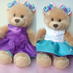 Bear Clothes to fit Build a Bear -Reversible purple party Dress & 2 bows.