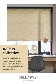 The acoustic absorption fabrics in our range are an ideal choice for offices. The properties of these fabrics absorb ambient sounds to help reduce echo in rooms with hard flooring, giving you a little extra peace and quiet when you need it most. Here from this range Zara Pineapple Roller blinds create the perfect Neutral blend for your window. View our inspiration from our Roller blind collection.