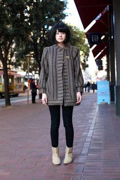 Vintage Coat, Linen Boots- Powell & Market