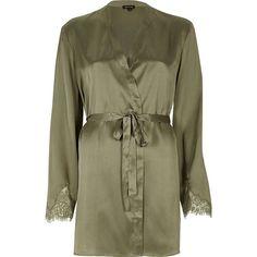 River Island Khaki green lace sleeve silky robe ($56) ❤ liked on Polyvore featuring intimates, robes, khaki, lingerie  sleepwear, pajamas / loungewear, women, bath robes, brown robe, river island and short bathrobes Clothing, Shoes & Jewelry - Women - Lingerie, Sleepwear & Loungewear - http://amzn.to/2kMZiFM