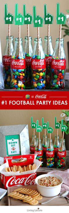 It's not a football party without fun party decorations! Decorate your home with classic Coke glass bottles and these Free Football Party Printables. DIY Football Party and Recipe Ideas. Click for more fun football ideas for hosting your own Homebowl for the BIG game! LivingLocurto.com @cocacola  @RITZcrackers #HomeBowlHeroContest #HomeBowlHero #iworkwithcoke ad