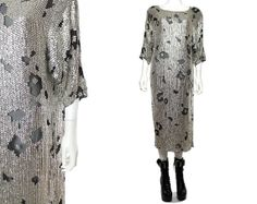 SALE 80s Silver Mesh Spotted Sequin Metallic Batwing Slouchy Maxi Midi Dress S-M-L