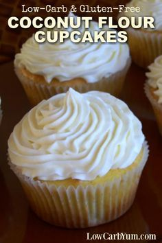 The texture of these low carb coconut flour cupcakes is nice and airy. Top with a sweet sugar-free buttercream frosting and a sprinkling of coconut.