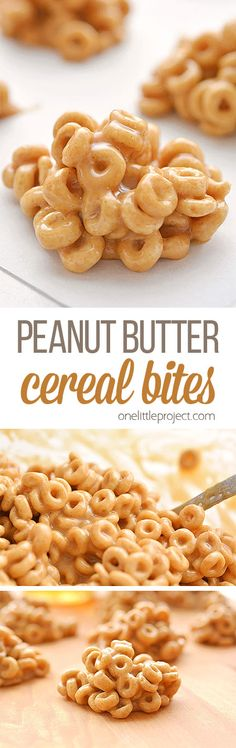 These no bake peanut butter cereal bites are soooooo good! Made with Cheerios, they're a great breakfast to grab on the run and with only 4 ingredients they're super easy to make! They're a quick, easy, and delicious snack idea and the kids loved them! Yummy Snacks, Delicious Desserts, Healthy Snacks, Yummy Food, Quick Snacks, Snacks To Make, Dinner Healthy, Baby Food Recipes, Snack Recipes