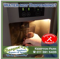 Is your water dispenser not working? Let us help you. We are in your area and only one call away. Appliance Repairs is an essential service. Your appliance is sanitized before and after repairs for your safety and ours. #wekeepthemworking #bergensappliances #appliancerepair #appliancepart #wefixappliances #essentialservice #bewisesantize Appliance Repair, Appliance Parts, Bergen, One Call Away, Kempton Park, Creating Communities, Domestic Appliances, Water Dispenser, Home Automation
