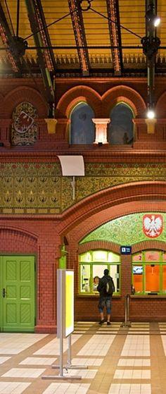 Hall of the railway station in Malbork, Poland
