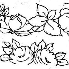 Risco de lindas rosas para pintura em toalhas . Muito lindos. Confira também o passo a passo da pintura em tecido.