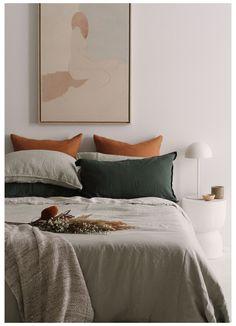 Olive Bedroom, Sage Green Bedroom, Sage Green Walls, Green Bedding, Green Rooms, Green Bed Linen, Green Bed Sheets, Room Ideas Bedroom, Bedroom Decor