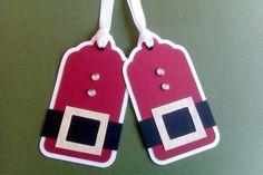 Etiqueta Navidad Papánoel rojo blanco negro cinturón
