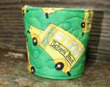 School Bus Reusable Coffee Sleeve in Quilted Cotton Fabric