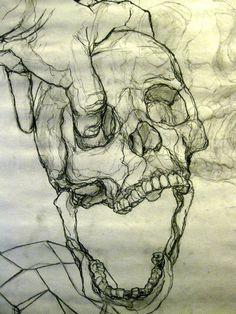 Kunst Inspo, Art Inspo, Art Journal Inspiration, Cool Art Drawings, Art Drawings Sketches, Drawing Faces, Bone Drawing, Zombie Drawings, Indie Drawings