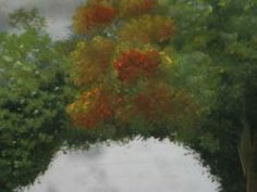 How to paint with acrylics orange and green trees in a landscape beautiful painting for wall in your home! try it!