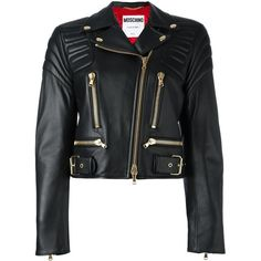 Moschino cropped biker jacket ($3,995) ❤ liked on Polyvore featuring outerwear, jackets, black, print jacket, skull motorcycle jacket, zip front jacket, rider jacket and moschino