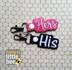 DIGITAL download- His Hers car keys, keychain, key fob, snap tab SET. bonus, sale, value, machine embroidery design. in the hoop. 02 10 2017