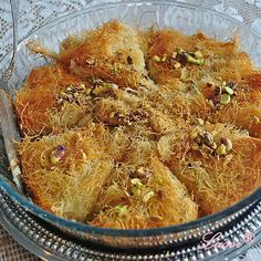 Lussi`s World of Artcraft: Кюнефе / Kanafeh/Künefe (Sweet Cheese Pastry) Pastry Recipes, My Recipes, Bulgarian Recipes, Bulgarian Food, Cheese Pastry, Deserts, Sweets, Dishes, Meat