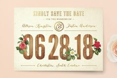 """""""Derby"""" - Floral & Botanical, Rustic Save The Date Postcards in Wood by cadence paige design."""