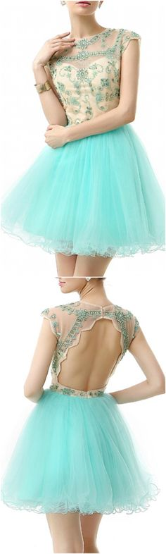 Enchanted 2016 Homecoming Dresses, Prom Dress, Mint Green A-Line Scoop Neck Short Tulle Prom Dress With Beading Appliques Lace, Short/Mini A Line homecoming dress, 2016 homecoming dress. Find This Lovely Dress from GemGrace, Enjoy Free Shipping Today.