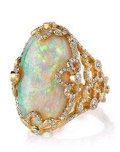 Erica Courtney Violet ring with opal and diamonds