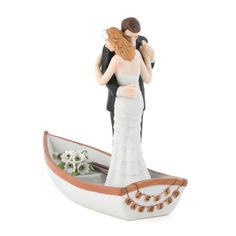 Row Away with Just Married Wedding Couple in Rowboat Cake Topper…