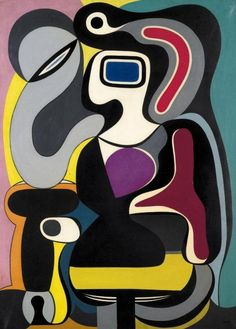 Composition 1928. Auguste Herbin (1882-1960)  was a French Cubist and later abstract painter whose work forms a bridge between the Cubist movement and post-war geometrical abstract painting. From 1917-21, he reverted temporarily in 1922-5 to a more figurative style (landscapes, portraits, etc.). Then turned to abstraction in 1926 and was co-founder of the group Abstraction-Création 1931.