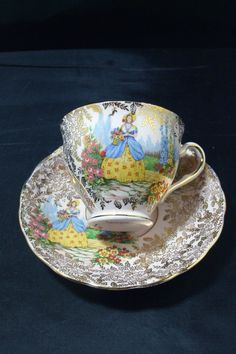 Vintage 1940's Colclough Bone China Crinoline Lady Gold Chintz Tea Cup and Saucer