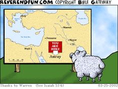 DESCRIPTION: Sheep looking at a map CAPTION: