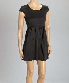 Loving this Black Cap-Sleeve Dress on #zulily! #zulilyfinds