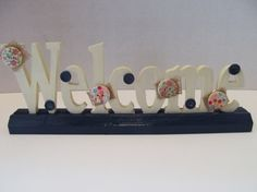 Wood Welcome Sign Shelf Decor Table Decor by MesheleCrafts on Etsy