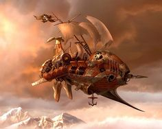 Sky pirates. #steampunk #teampunkart #airship http://www.pinterest.com/TheHitman14/artwork-steampunked/