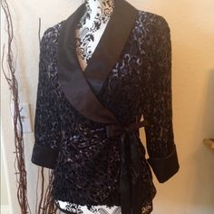 """Burnout velvet evening jacket This looks like the gals version of a """"Smoking jacket"""". Black velvet burnout fabric in a leopard pattern, sometimes reflects a rich blue shade. Wrap around style wth satin lapels and cuffs, three-quarter length sleeves. Onyx Jackets & Coats Blazers"""